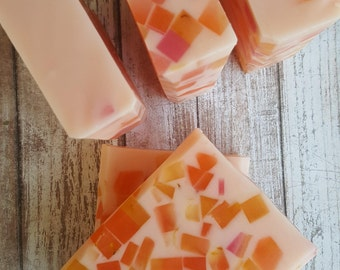Soap * Plumeria Glycerin * Handcrafted * Melt and Pour * Sunflower Oil * Buttermilk * Detergent Free * Honey * Oatmeal * Calendula Extract