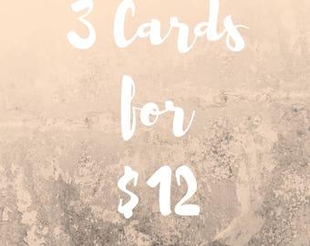 Birthday Card Set - 3 Cards for 12 dollars
