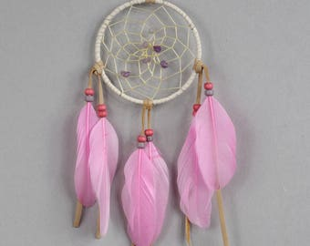 White and Pink Dreamcatcher, Nursery Dream Catcher, Boho Wall Hanging, Baby Dream Catcher