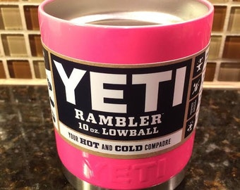 Custom YETI 10 oz Lowball Rambler with Lid - Hot Pink Powder Coated
