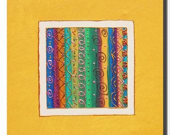 """Peinture à l'acrylique sur toile. """"Graphismes"""", tableau décoratif carré graphique, jaune, bleu, vert, blanc, doré. Home deco. cadeau maison"""