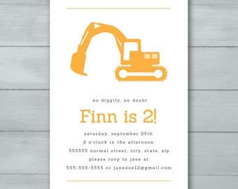 Digger Birthday Party Invitation  |  Digger Invite  |  Construction Birthday Party Invitation