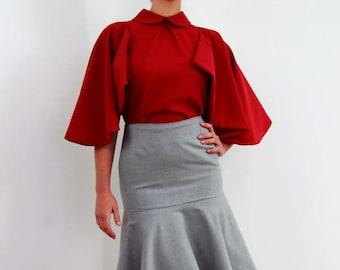 women dark red shirt, high neck red shirt, woman red top, butterfly sleeve top, women red shirt