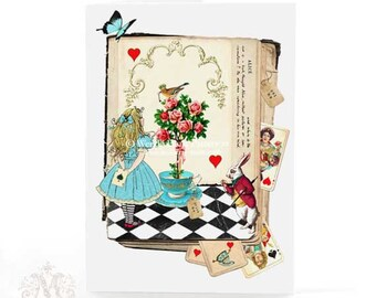 Alice in Wonderland card, birthday card, white rabbit and Queen of hearts, all occasion card