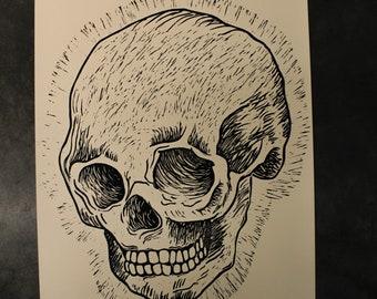 Original Skull Poster Handmade Woodblock Print