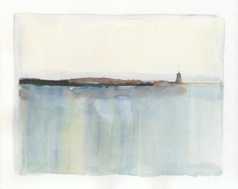 Lighthouse on Reflecting Sea original watercolor, modern abstract seascape, reflections, 8 x 10, matted