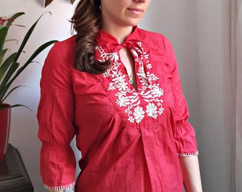 Red Lace Embroidered Patio Blouse S