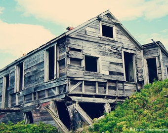 Alaska Landscape Photography - Rustic Photograph - Aleutian Islands - Unga - Fine Art Photography Print - Blue White Gray Green Home Decor