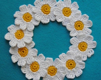 "Daisy crochet 10pcs Decorative flowers 1,2"" White flower Daisy applique"