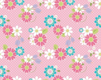 Dream and a Wish Princess, Floral Pink, by Riley Blake, Sold by the Half Yard