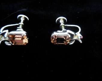 Sale Price. Lisner earrings, Emerald Stone, Pale Yellow small leafs, screw backs