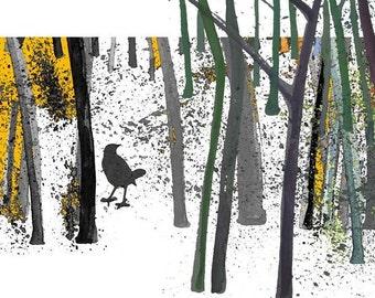 Gift for Bird Lover,  Bird Art Print, Watercolor Print, small Wall Art
