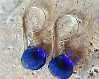 Sapphire Blue Quartz Simple Drop Earrings Something Blue Everyday Earrings on Sterling Silver Gift for her