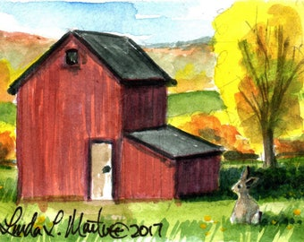 Red Barn Farm Bunny Rabbit llmartin Original ACEO Father Nursery, New Mom, Toddler Miniature Watercolor Free Shipping USA Child Children