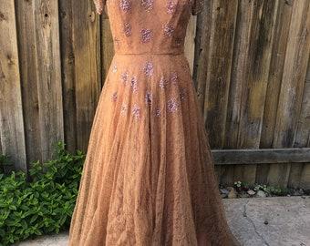 1970s beaded lace dress