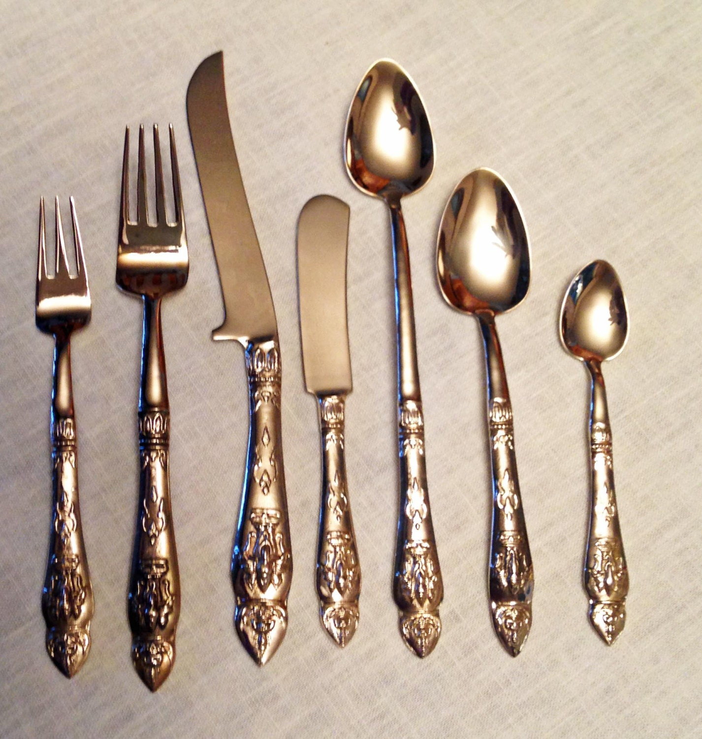 Polished Vintage 96 Pieces for 12 of Siam/Thai Bronze/Brass