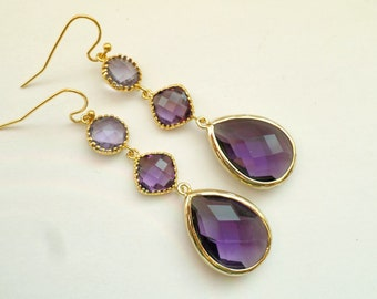 Teardrop Amethyst Earrings. Bridal Earrings. Bridesmaid Gift. Earrings. Purple. Wedding Prom Party. Amethyst Gold Earrings. Purple Earrings