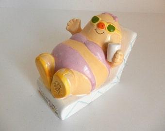 Vintage c. 1981 Retired Human Bean Ceramic Piggy Bank by Enesco - Vintage 1980's Decor