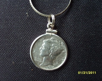 Coin Necklace, Sterling Dime Necklace, Vintage Coin Pendant Mercury Dime with Sterling Silver Necklace Silver Accessories