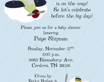 10 Airplane Baby Shower Invitations with Envelopes.  Free Return Address Labels
