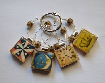 Fun and Fanciful Images on Vintage Scrabble Tiles – Set of 4 Wine Charms With Bead Accents ~ Set of 4 on Ring Holder