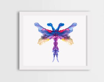 Dragonfly print, watercolor wall art, dragonfly painting, girl room decor, gift for her