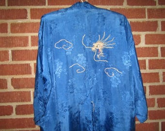Vintage 1930s Japanese Blue Silk Robe with Metallic Hand Embroidered Dragon Design