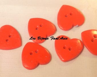 Lot 15mm red heart polymer clay handmade buttons