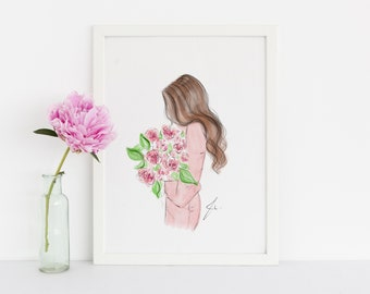 The Rose Colored Dress (Fashion Illustration Print) (Fashion Illustration Art - Fashion Sketch prints - Home Decor - Wall Decor )