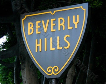Beverly Hills Sign Photo Wall Art Print Fine Art Photography Picture Los Angeles Hollywood California Street Sign Digital Instant Download