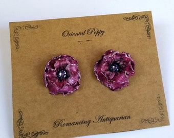Purple Poppy Silver Earring Studs, Handcrafted Floral Jewelry