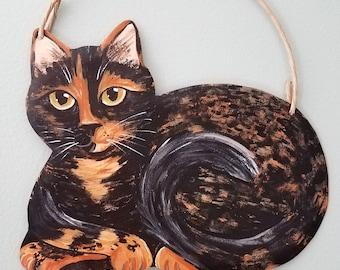 Tortoiseshell  Cat Art - Cat Yard Art - Cat Wall Art - Original Cat Art - Garden Art - Cat Sign - Cat Folk Art - Cat Memorial