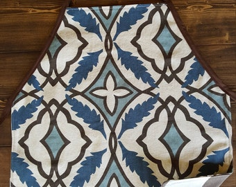 Brown and Blue Reversible Childs Apron