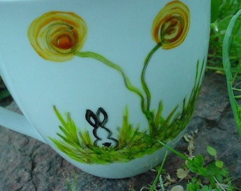 Large pottery mug bunny rabbit and poppies spring design kiln fired mug poppy bunnies