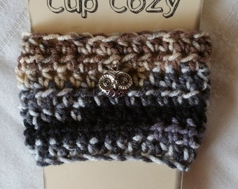 Coffee Cup Cozy, Crochet Coffee Cup Cozy, Cup Cozy, Owl Cup Cozy, Crochet Cup Cozy,  Earth Tones Coffee Cup Cozy