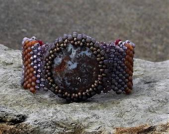 Jewelry - Free Form Peyote Stitch Beaded Bracelet  - Bead Weaving - Red Creek Jasper Cabochon - BOHO