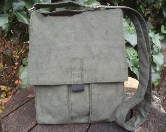 Olive green corduroy messenger bag