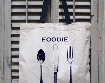 tote bag canvas - market tote - eco tote - grocery bag - food bag - baking gifts - chef gift - book bag - book tote - FOODIE - tote bag
