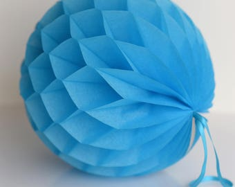 Turquoise Tissue paper honeycomb ball-hanging wedding party decorations-paper lantern-birthday decor-round paper ball-nursery - bright poms