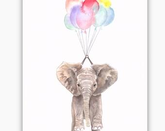 Watercolour Elephant A4 Print, Animal Portrait, Illustration, Childrens art, limited edition
