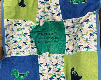 Personalized Dinosaur and Minky Quilted Baby Blanket/Play Mat