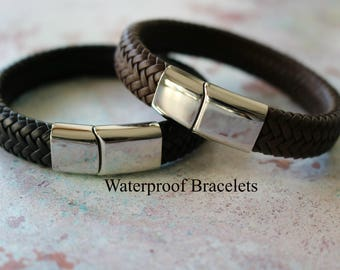 NEW EXCLUSIVE - Mens WATERPROOF Personalised Leather Bracelet - Mens Leather Bracelet