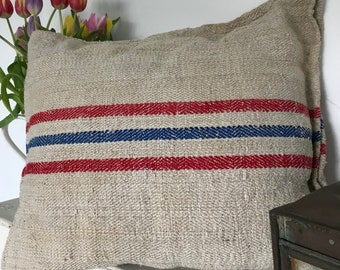 Vintage textured linen grain sack red and blue stripes.