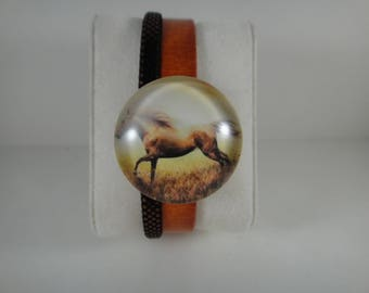 Top quality: 2 genuine leather Bracelet orange strands and glitters with snap chunk interchangeable glass 30mm