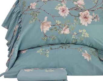 Vintage Blue Flower Bedding Sheets Sets Twin/Full/Queen/King