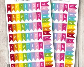 Vacation Banner Planner Stickers, Rainbow - Perfect for your Erin Condren, Vertical