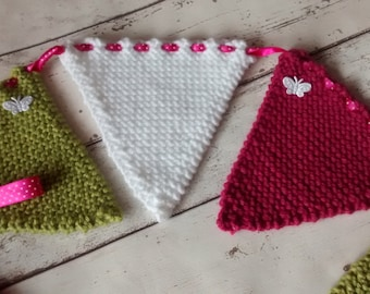 Knitted bunting, hand knitted flags, knitted garland, butterfly embellishment, home decor, wall hanging, finished with ribbon and buttons