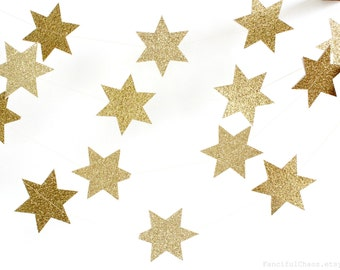 Star of David Gold Glitter Star 10 ft Paper Garland - Hanukkah Chanukah Holiday Decoration