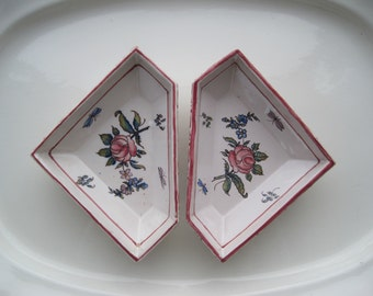 Antique Pair French Trays Dishes From Malicorne Region Signed Emile Tessler TE France Fience French Art Pottery