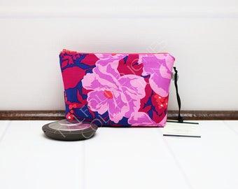 Mini Makeup Bag - Cosmetic Pouch - Floral Makeup Pouch - Purple Cosmetic Bag - Zipper Pouch - Floral Makeup Purse - Bridesmaid Gift